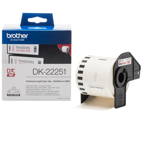 Brother DK-22251 62mm x 15.24m Continuous Length Paper Label Roll (Black/Red On White)