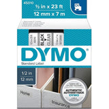 Dymo 45010 Permanent Self-Adhesive D1 Polyester Label Tape, Black on Clear, 12mm