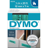 Dymo 45019 Permanent Self-Adhesive D1 Polyester Label Tape, Black on Green, 12mm