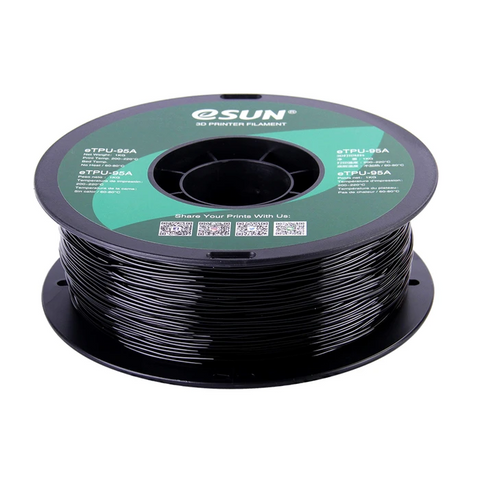 eSUN 3D Black 1.75mm eTPU-95A Flexible Filament High Quality 1KG for FDM 3D Printer