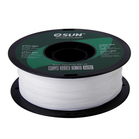 eSUN 3D White 1.75mm eTPU-95A Flexible Filament High Quality 1KG for FDM 3D Printer
