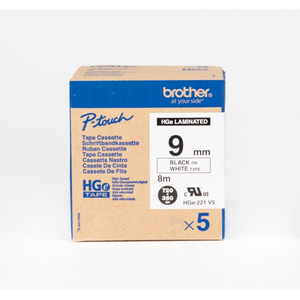 Brother HGe-221 High Grade Laminated Tape 9mm Black on White