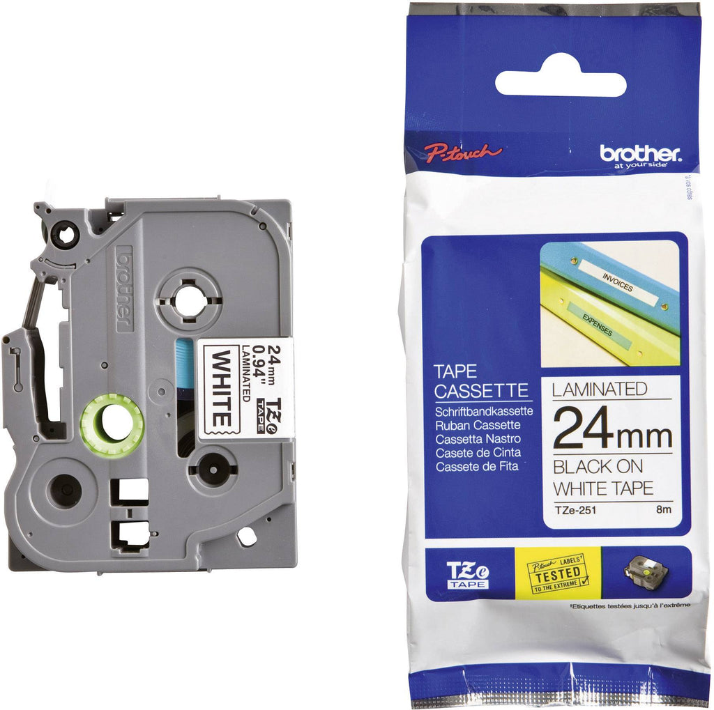 Brother TZe-251 P-Touch Labelling Tape 24mm Black on White