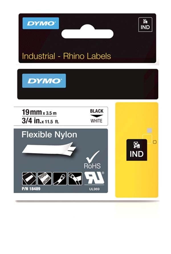 Dymo 18489 Industrial Flexible Nylon Labels, Black on White, 19mm