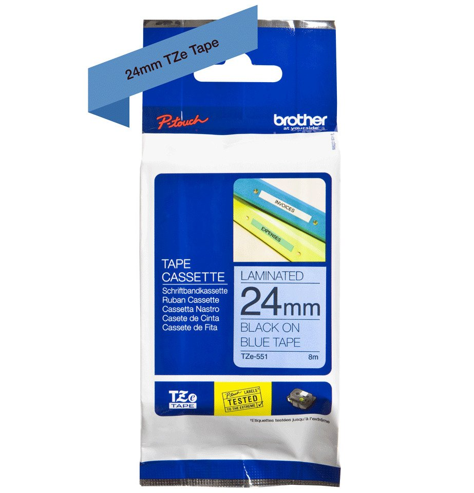 Brother TZe-551 P-Touch Labelling Tape 24mm Black on Blue