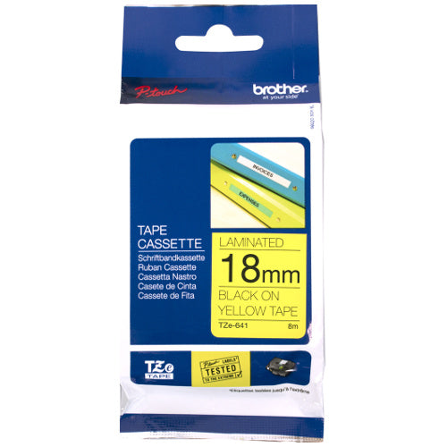 Brother TZe-641 P-Touch Labelling Tape 18mm Black on Yellow