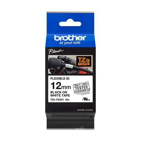 Brother TZe-FX231 Black on White Flexible P-Touch Labelling Tape, 12mm width