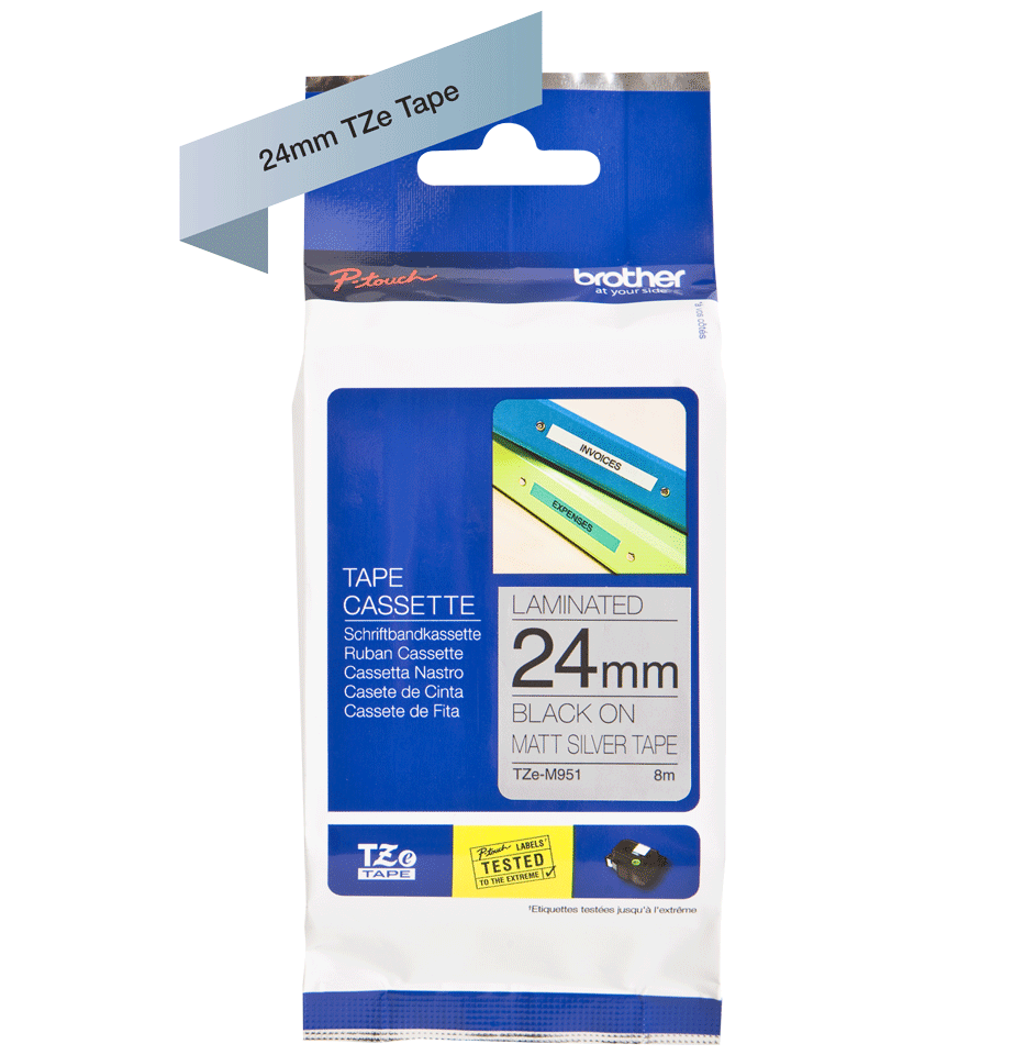 Brother TZe-M951 P-Touch Labelling Tape 24mm Black on Matte Silver