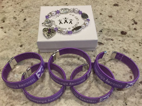 Fibromyalgia Awareness Bangle and Charm Bracelet Bundle