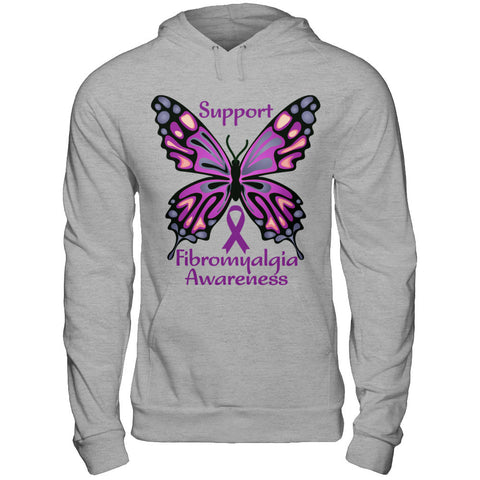 Fibromyalgia Awareness Butterfly Hooded Sweatshirt