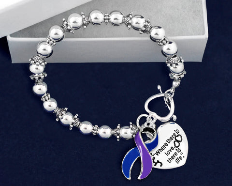 Rheumatoid Arthritis Awareness Ribbon and Heart Charm Bracelet