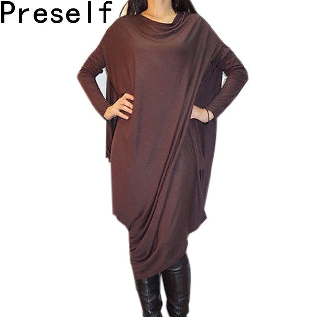 Preself New Fall winter Women Casual Batwing Sleeve Loose Asymmetric Long Dress Ladies fall Oversized Plus Size dresses vestidos