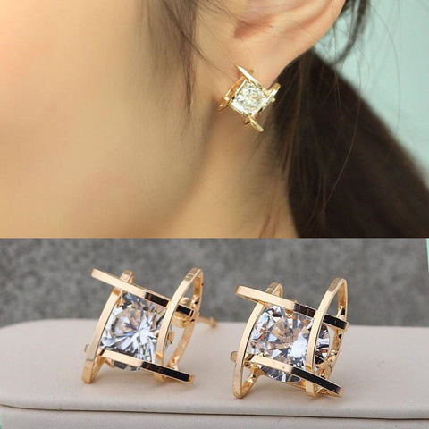 2016 Fashion Exquisite Square Pierced Crystal Zircon Stud Earrings Jewelry For women Ear Studs Gifts Free shipping