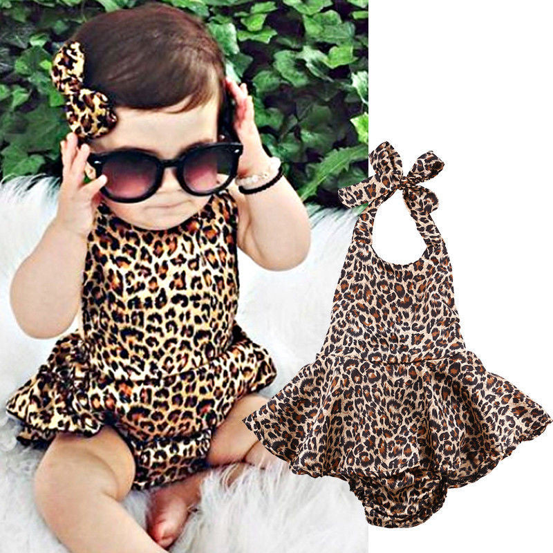 Newborn Baby Girl Boy Clothes Leapord Bodysuit Dress Ruffles Jumpsuit Outfits One pieces Summer Clothing 0-24M