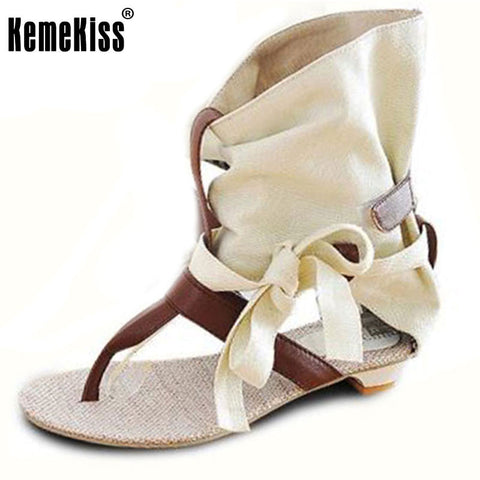 Big Size 34-43 Fashion Women Gladiator T straps Flat Heel Sandals Summer Shoes Brand New Casual Dress Chic Sandals S236
