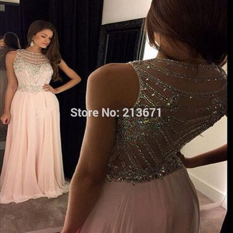 Sexy Long Prom Dresses 2016 Pink Scoop Sleeveless Chiffon Crystal Beading vestido de festa Formal Party Dress Custom Made S10502