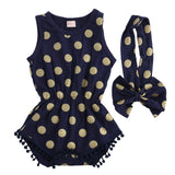 2016 New Baby Girls Bodysuit 0-24M Infant Toddle Kids Summer Short Sleeve Playsuit Cute Girls Princess Dot Tassel Bebes Outfit