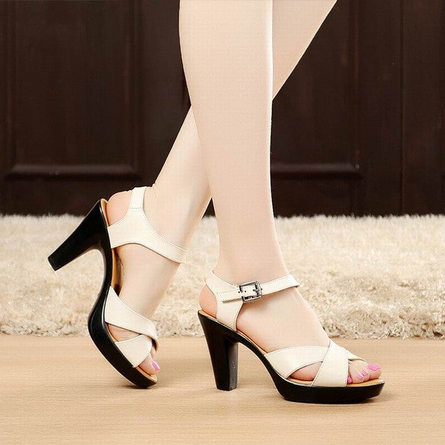 Fashion Genuine Leather Sandals 2017 New High Heel Summer Shoes Gladiator Open Toe Platform Sandals plus size