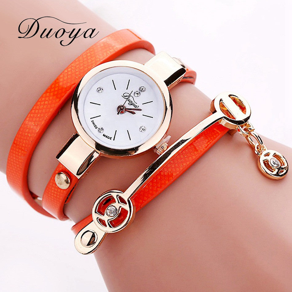 New Duoya Fashion Women Bracelet Watch Gold Quartz Gift Watch Wristwatch Women Dress Leather Casual Bracelet Watches