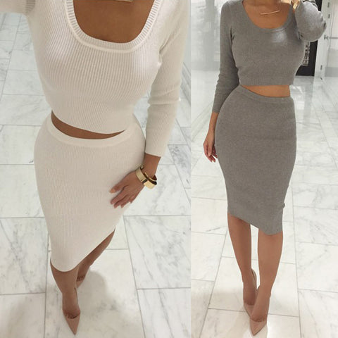 Long Sleeve Midi & Pencil Skirt