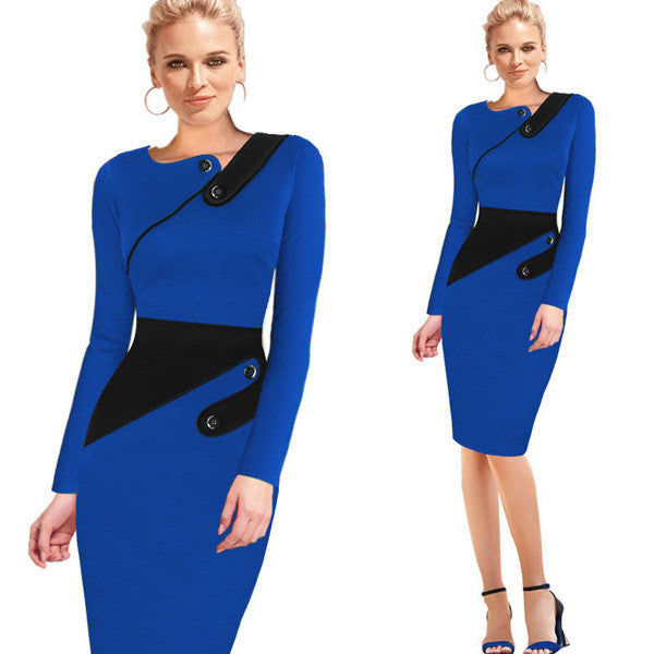 Nice-forever Business Female Pencil Dress Elegant Lady Illusion Patchwork Sheath Buttons Fitted Women Bodycon Bandage Dress b231