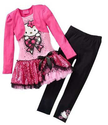 Retail 2015 Kids Clothes Sets Fashion Autumn 2pcs Sets Skirt Suit Hello Kitty Baby Girls Dresses Clothing Sets Shirt +Pants