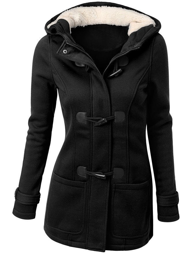 Winter Coat Women 2015 New Fashion Women Wool Blends Slim Hooded Collar Zipper Horn Button Long Coats Outerwear special button