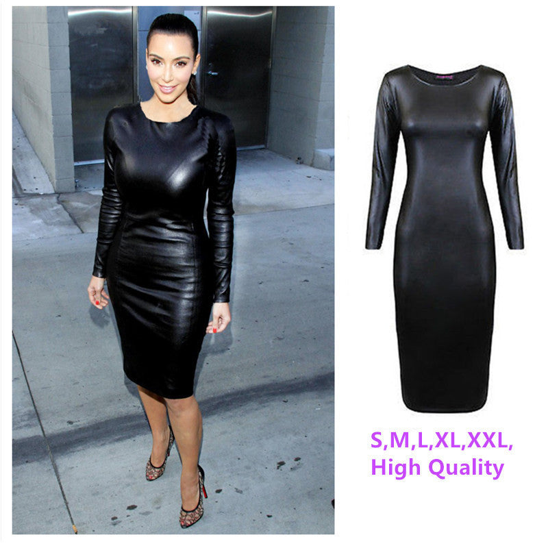 M-XXL NEW 2016 Women Long Sleeve Party Dress Leather Look Bodycon Dress Sexy Club Dress Fall Winter Office Casual Dress Vestidos