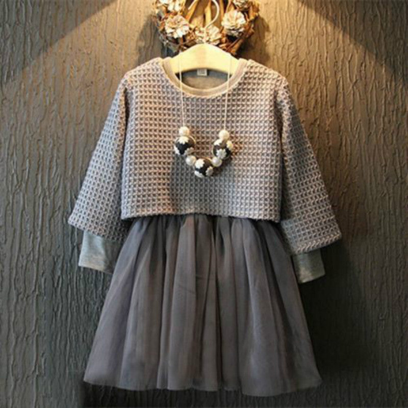 pring / Autumn Baby Girl Clothing Set Lace Children Cloth Suit Long Sleeve Bow Kids 2PCS Top DRESS