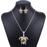 MS1504180 Fashion Animal Jewelry Sets High Quality Necklace Earring Sets Bright Colors Tortoise' Necklace Earrings Party Gifts