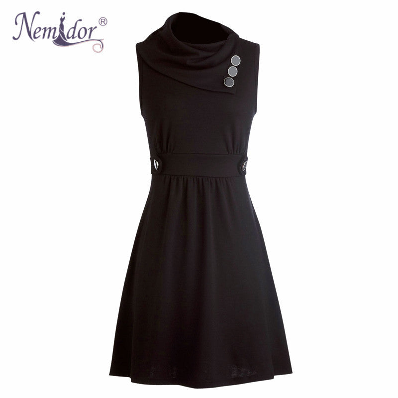 Nemidor Spring Women Elegant Irregular Collar Retro Button Swing Dresses Casual Sleeveless Party Midi Dress