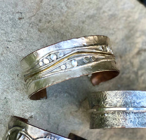 Silver Rain Cuff with Gold & Moonstones