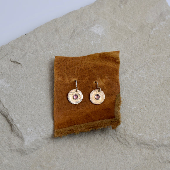 Hammered Disc with Stone Earrings