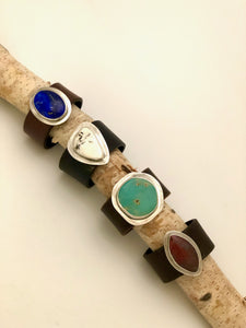 Natural Stone Leather Cuff
