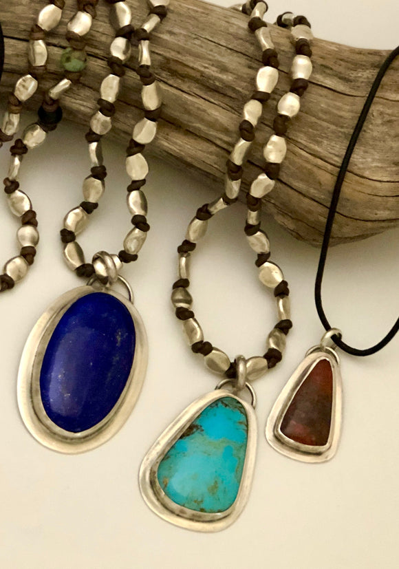 Natural Stone Pendants on Leather & Silver Beading