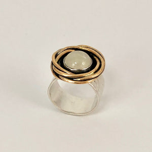 Silver & Gold Moonstone Nest Ring