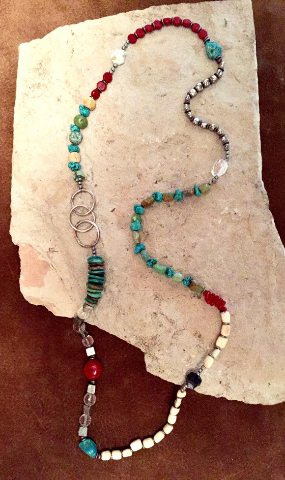 Multi Beaded Natural Stone Necklace