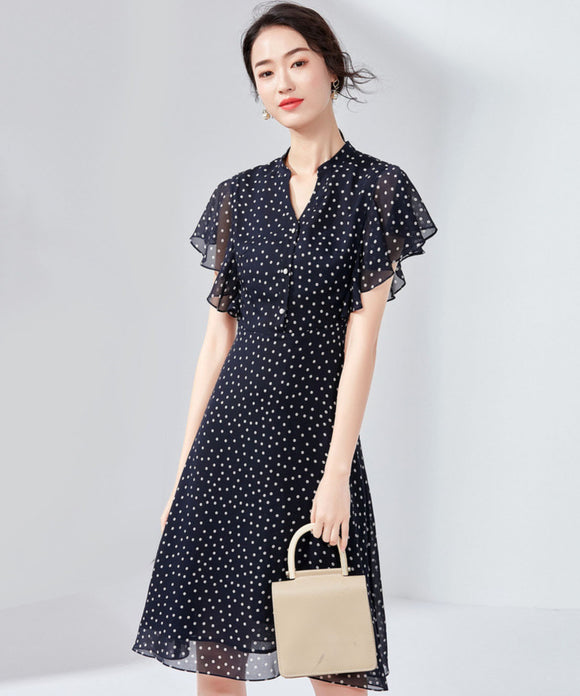 Agnes Dot Chiffon Dress