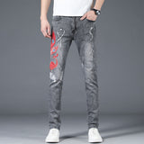 Sean Embroidery Slim Fit jeans (Non-Returnable)