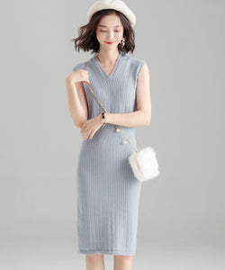 Melody V Neck Knit One Piece Dress (Non-Returnable)