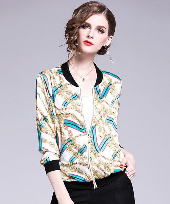 Chandra Chiffon Baseball Jacket