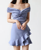Eve Off Shoulder Frill Dress (Non-Returnable)