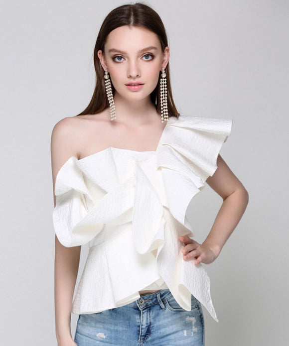 Emelia One Shoulder Ruffle Top (Non-Returnable)