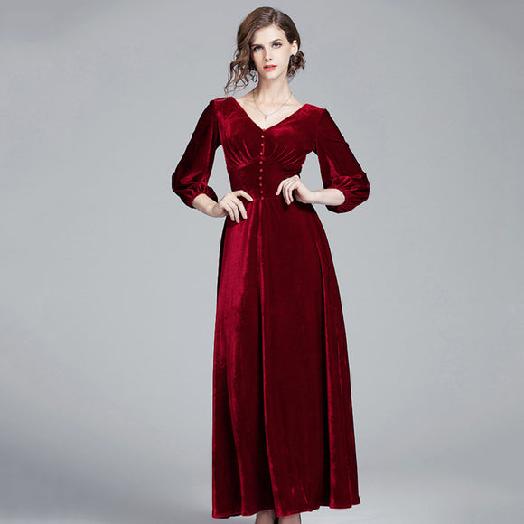 Savannah V Neck Velvet Dress