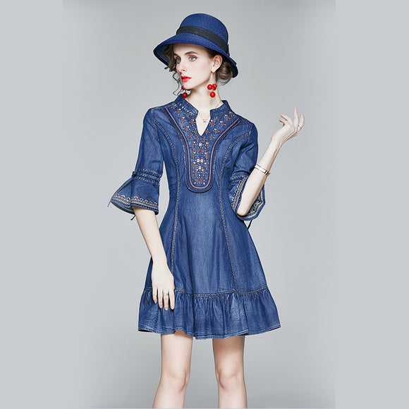 Adelia V Neck Denim Dress