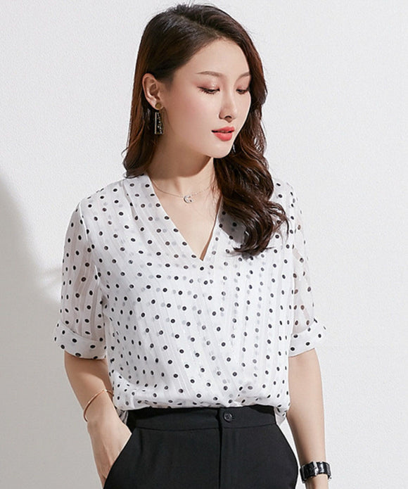 Gianna V Neck Dot Chiffon Top