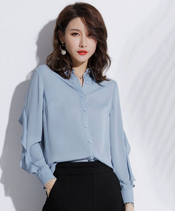 Ayla Frill Chiffon Blouse (Non-Returnable)