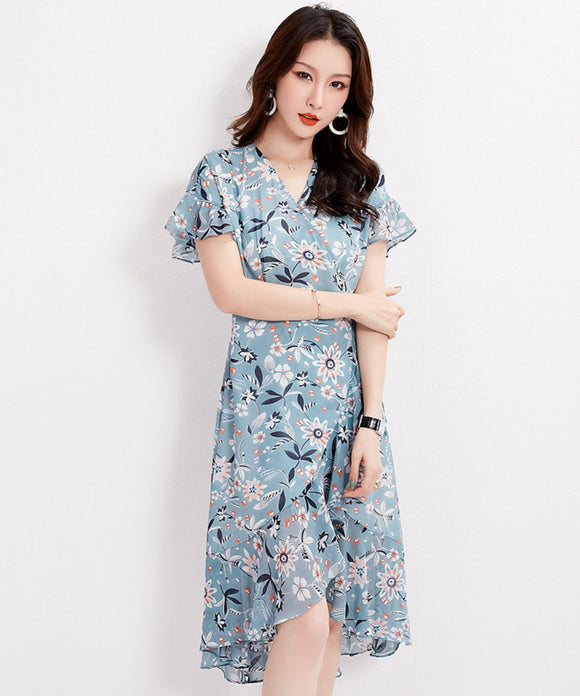 Liliana V Neck Floral Chiffon Dress