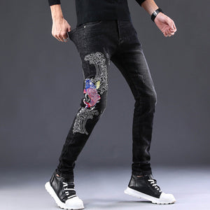Ezra Embroidery Slim Fit jeans (Non-Returnable)
