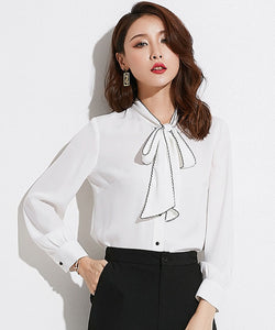 Meryl Bow Collar Chiffon Top (Non-Returnable)